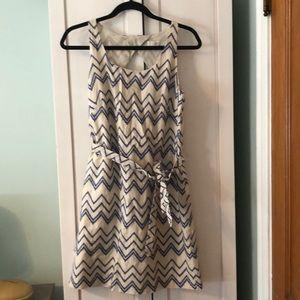 Loft Belted Dress w Periwinkle Chevron Embroidery